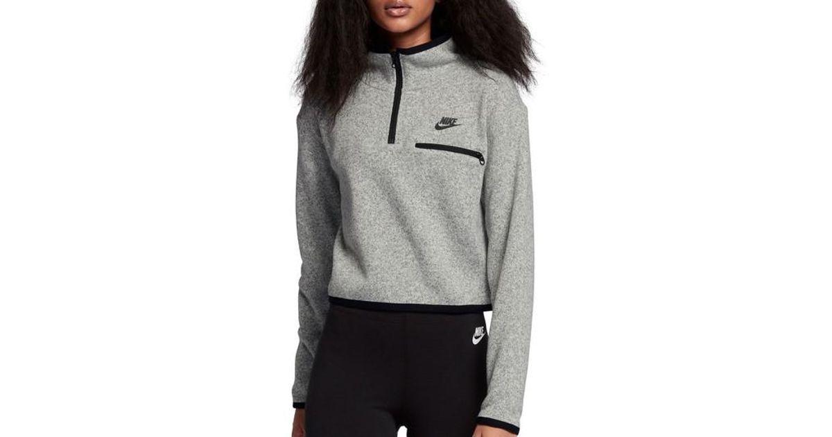cd48b9549520 Lyst - Nike Sportswear Women s Half Zip Knit Top in Gray