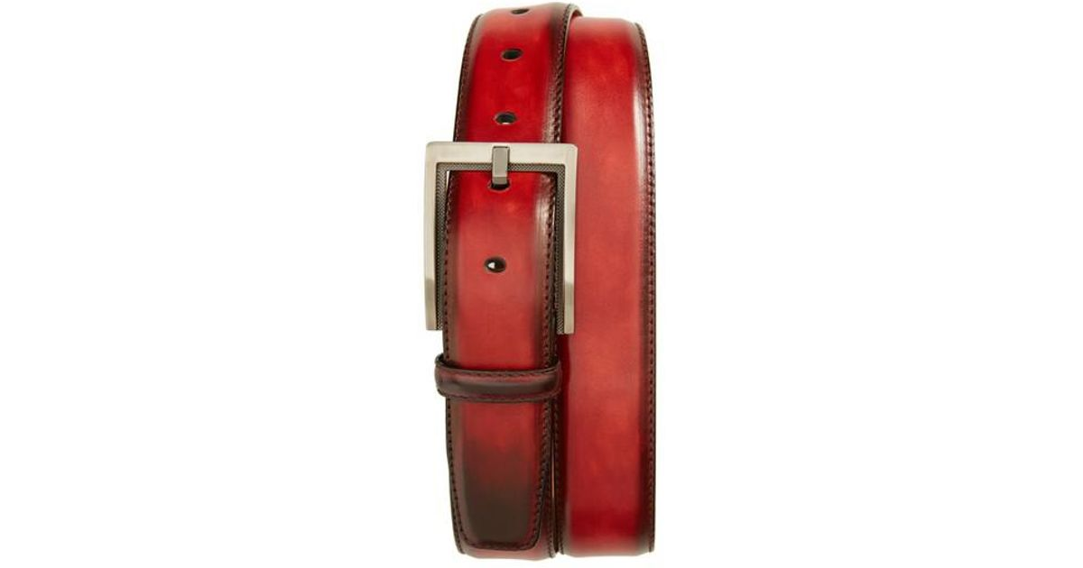 b55cd71588d Lyst - Magnanni Burnished Leather Belt in Red for Men