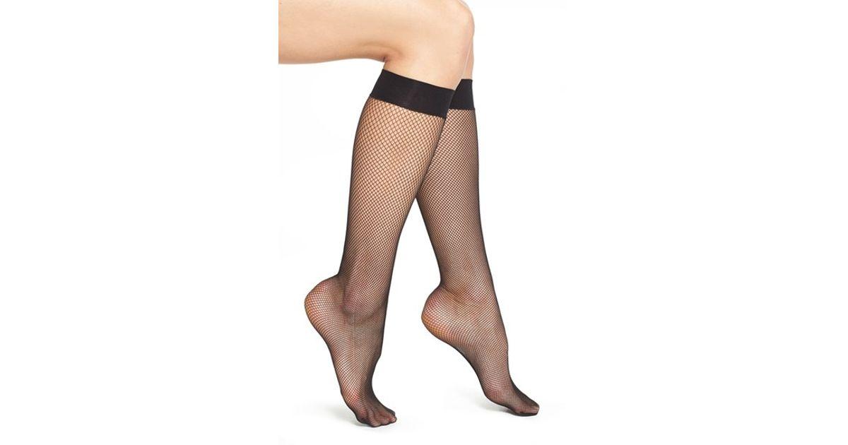 6056d4956 Wolford  twenties  Fishnet Knee High Socks in Black - Lyst
