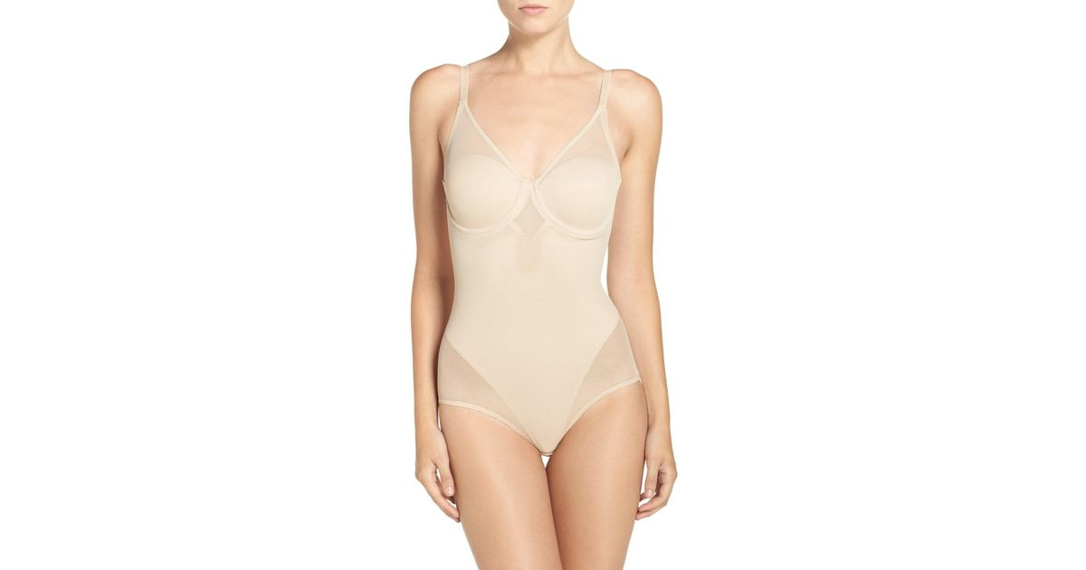 19d79b81f7630 Lyst - Tc Fine Intimates Mesh Insets Underwire Bodysuit in Natural