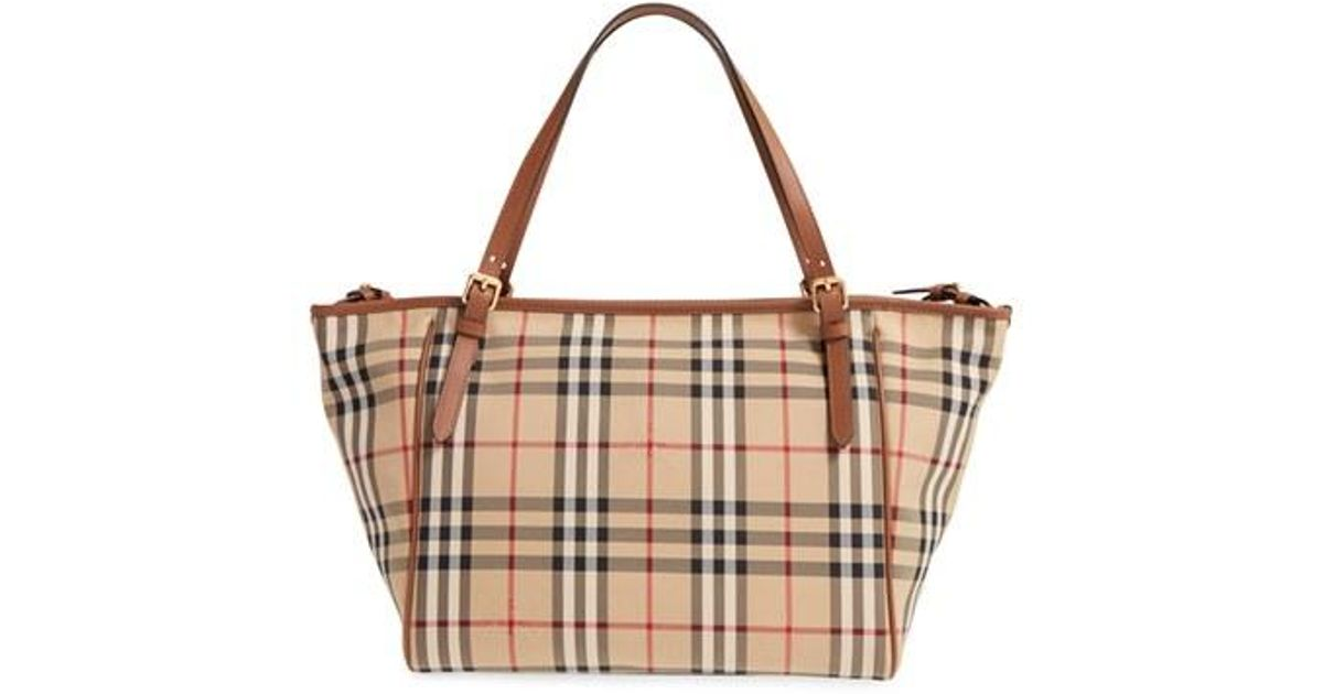 burberry horseferry check diaper tote in brown lyst. Black Bedroom Furniture Sets. Home Design Ideas