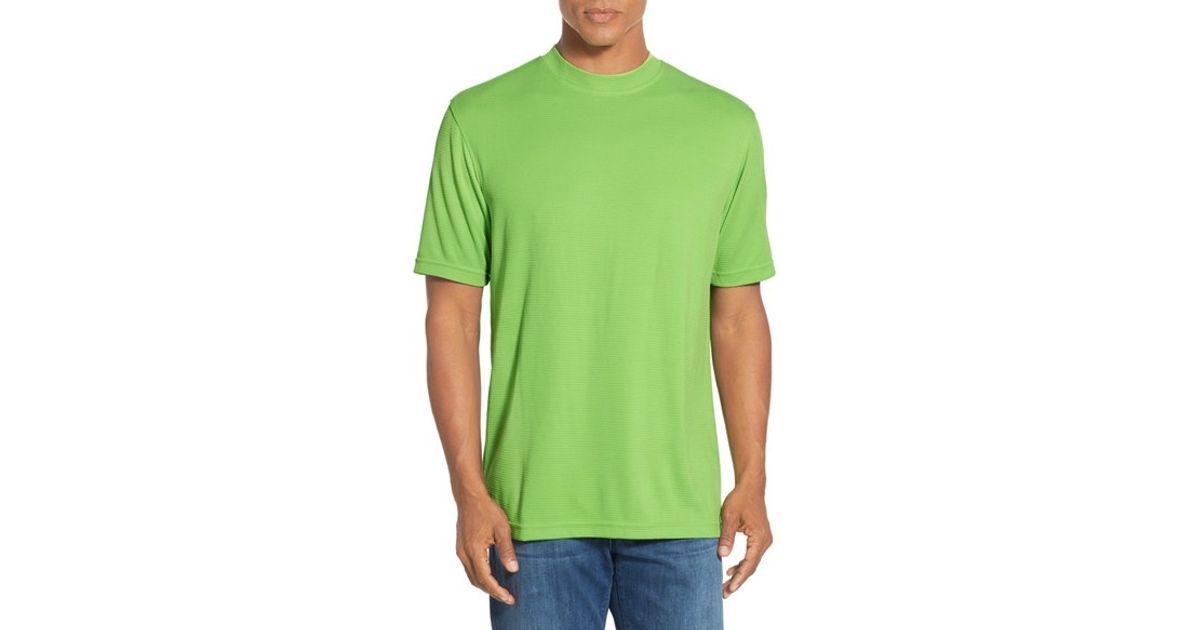 Bugatchi short sleeve crewneck t shirt in green for men lyst for Apple green dress shirt