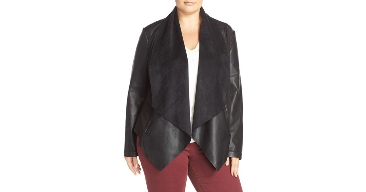 Kut From The Kloth Ana Faux Leather Drape Front Jacket