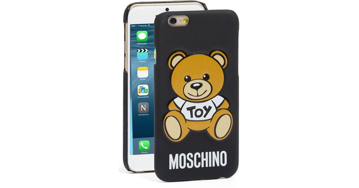 moschino 39 bear 39 iphone 6 6s case in black lyst. Black Bedroom Furniture Sets. Home Design Ideas