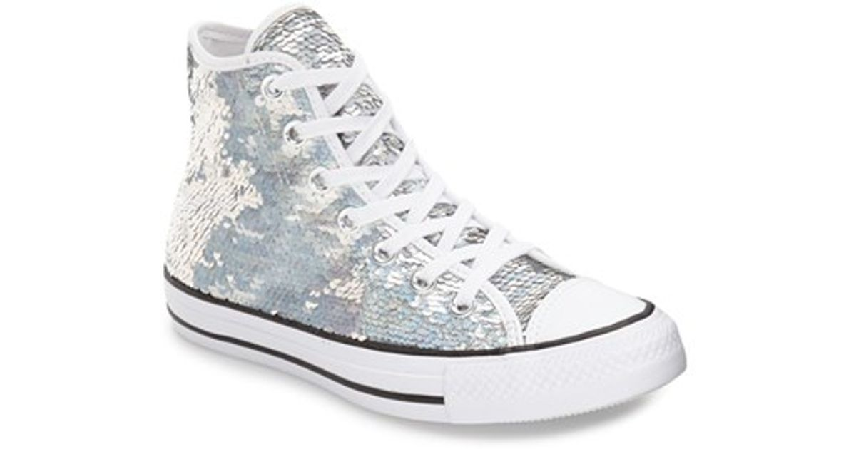5d9415f7dc84ac Lyst - Converse Chuck Taylor All Star  holiday Party  Sequin High Top  Sneaker in White