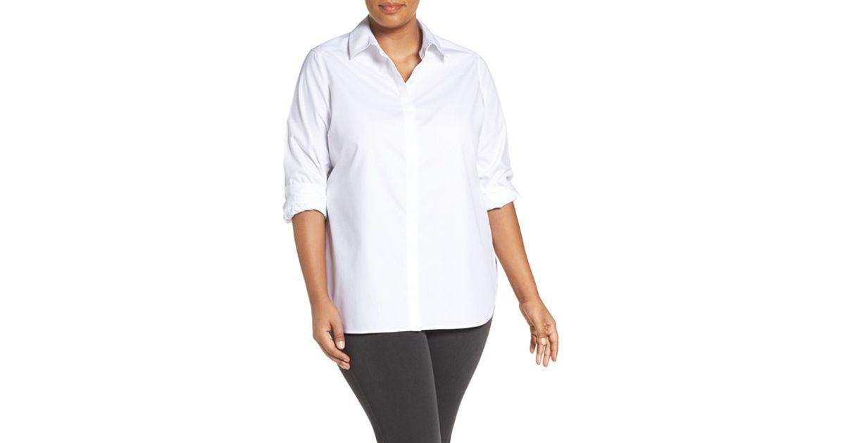 Foxcroft 39 vanessa 39 no iron cotton shirt in white lyst - How to unwrinkle your clothes with no iron ...