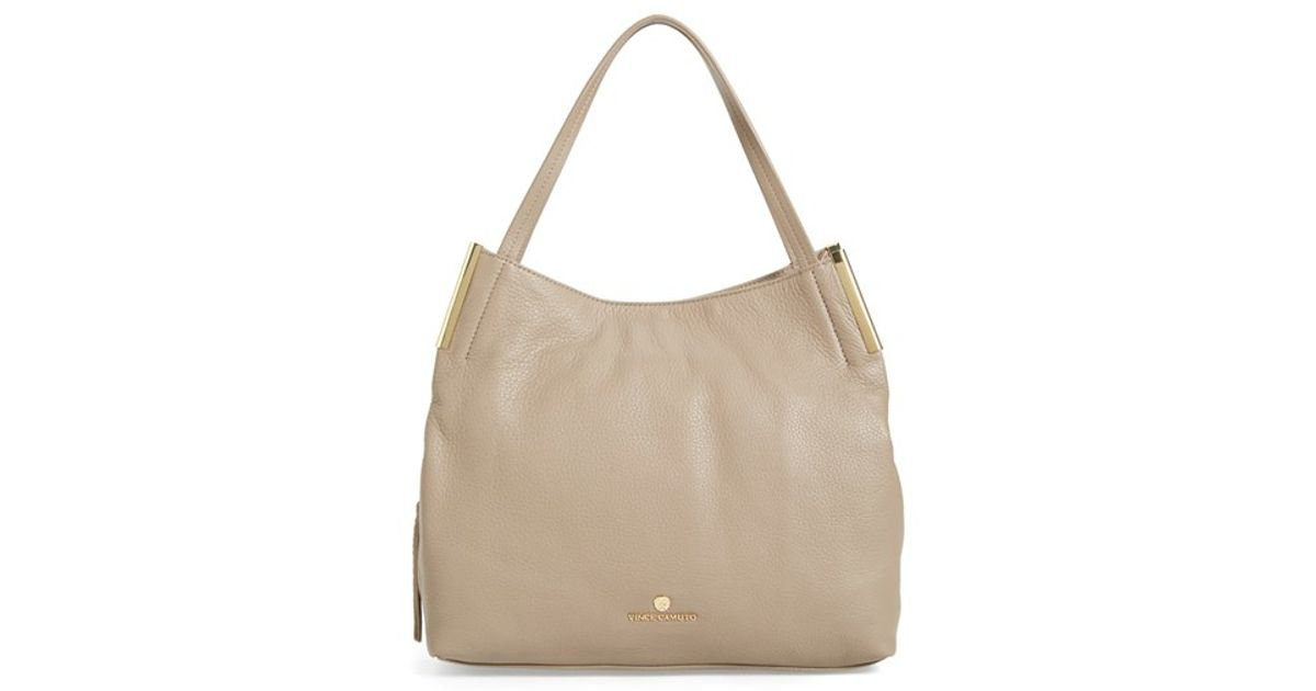 Vince Camuto Tina Leather Tote In Natural Black Cherry