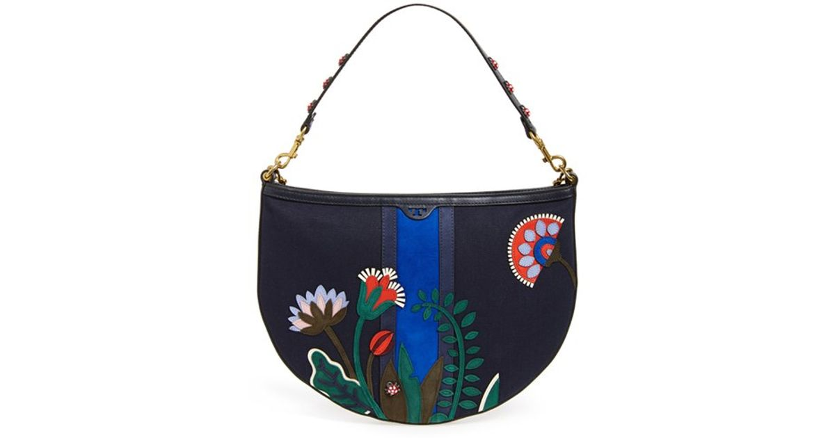 318574f2414 Lyst - Tory Burch  utopia  Floral Applique Hobo in Blue