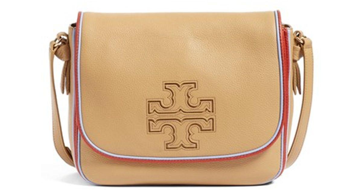 a898906ec898 Lyst - Tory Burch  harper  Stripe Leather Crossbody Bag in Natural