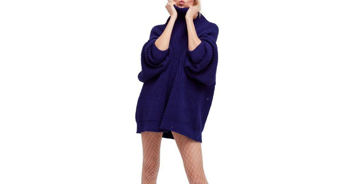 Lyst Free People Swim Too Deep Turtleneck Sweater In Blue