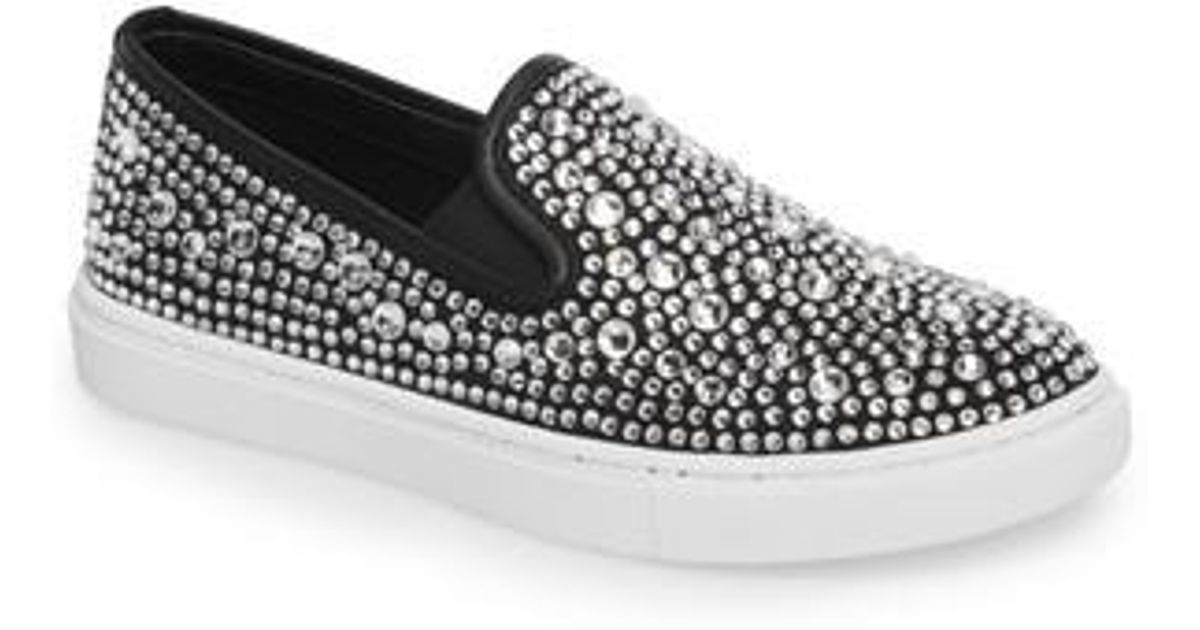 on sale abb2d 915f9 Lyst - Steve Madden Evada Crystal Embellished Slip-on Sneaker in Black