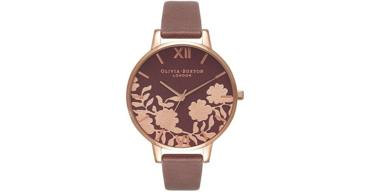 d7563b7ca Olivia Burton Lace Detail Leather Strap Watch - Lyst
