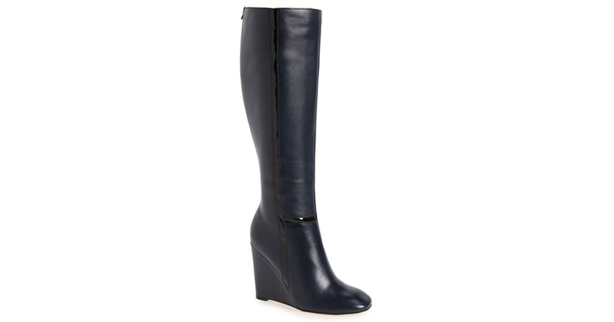 calvin klein poloma wedge boots in blue lyst