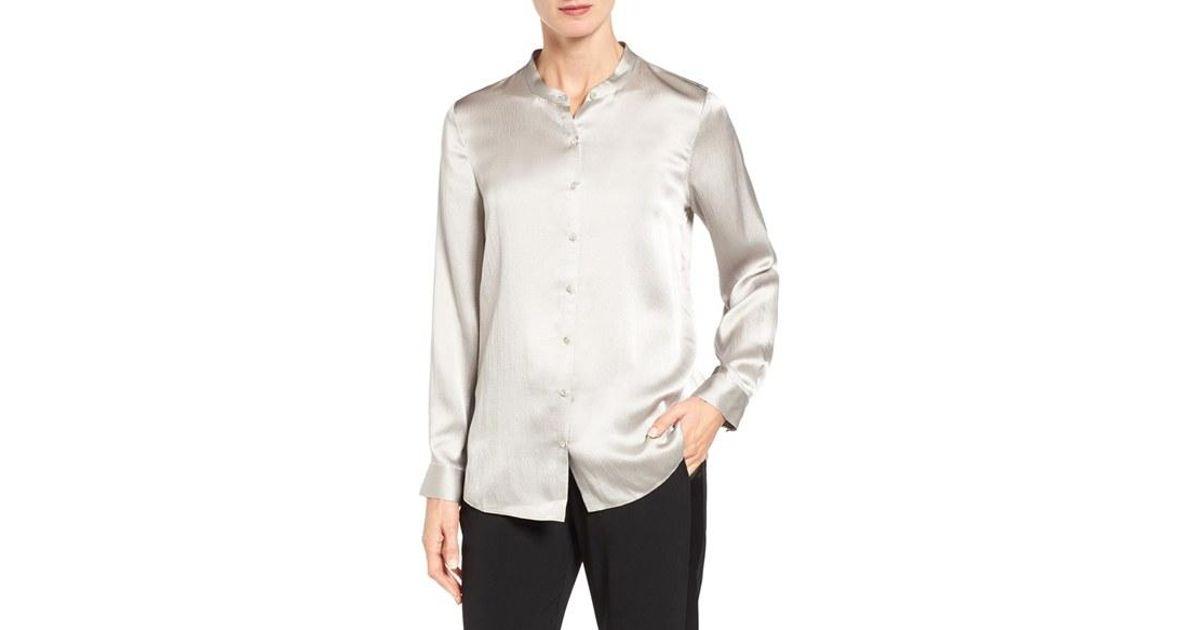 3ae82fb9 Lyst - Eileen Fisher Hammered Silk Satin Mandarin Collar Blouse in Metallic