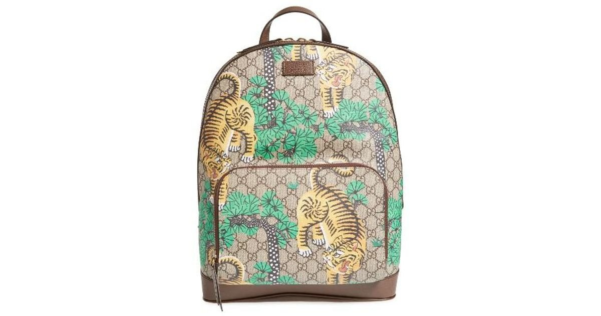 Lyst - Gucci Tiger Cub Supreme Canvas Backpack in Green