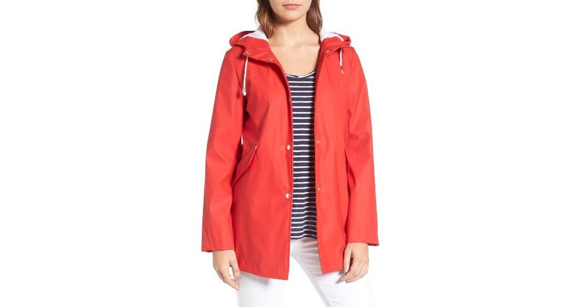 b673832a065 Lyst French Connection Side Zip Hem Hooded Slicker In Red