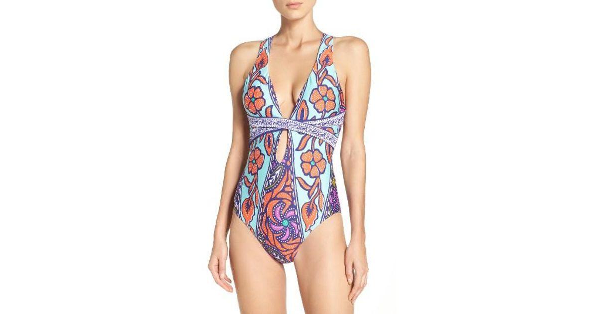 2d7b8fd51a Lyst - Trina Turk Balinese Batik One-piece Swimsuit in Blue