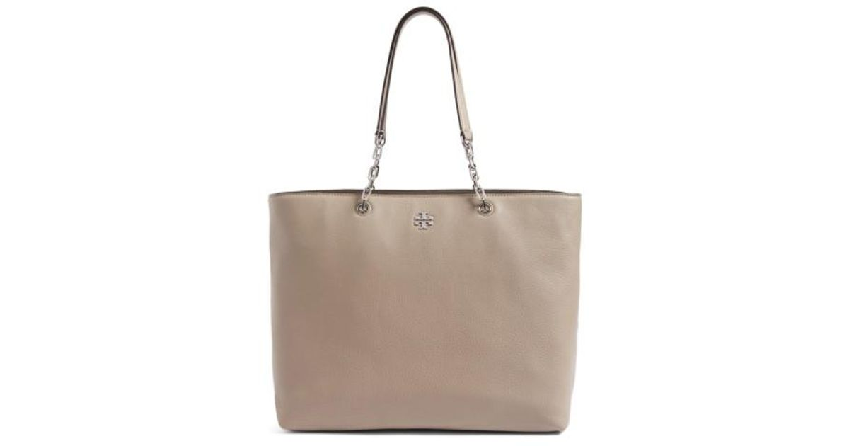 4f91456fdbc Lyst - Tory Burch Frida Pebbled Leather Tote in Gray
