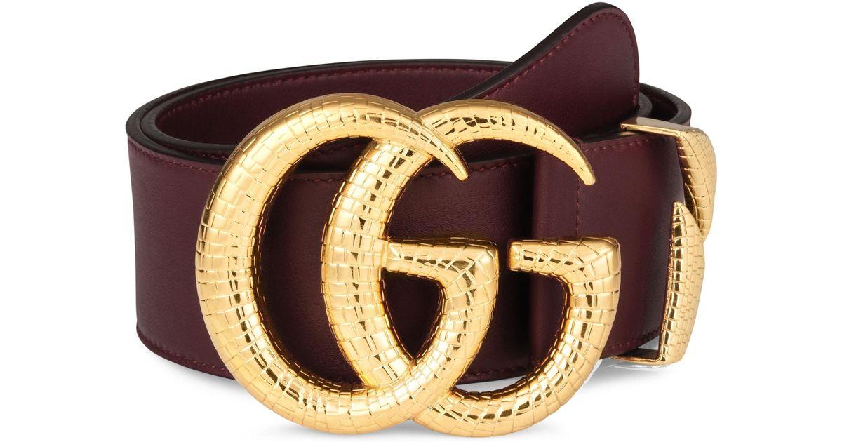 f7e7e61480c Lyst - Gucci Gg Marmont Lizard Buckle Leather Belt