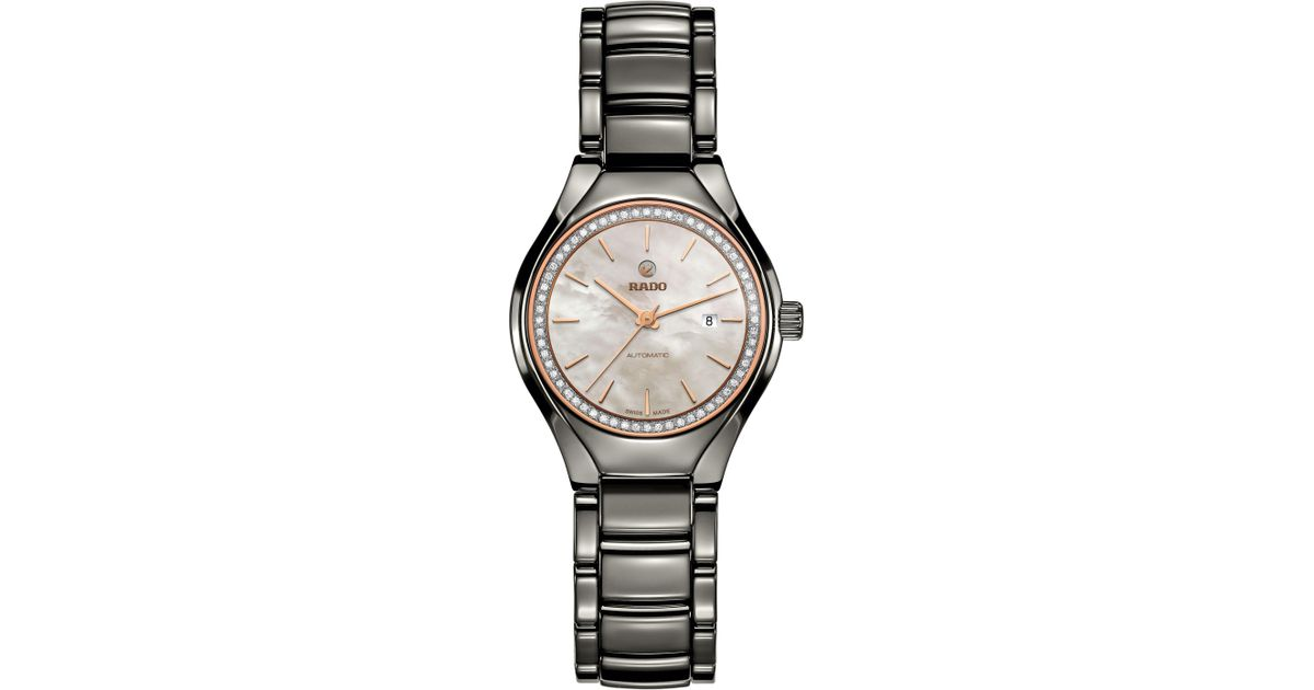 789021986b9c Lyst - Rado True Automatic Diamonds Ceramic Bracelet Watch in Gray