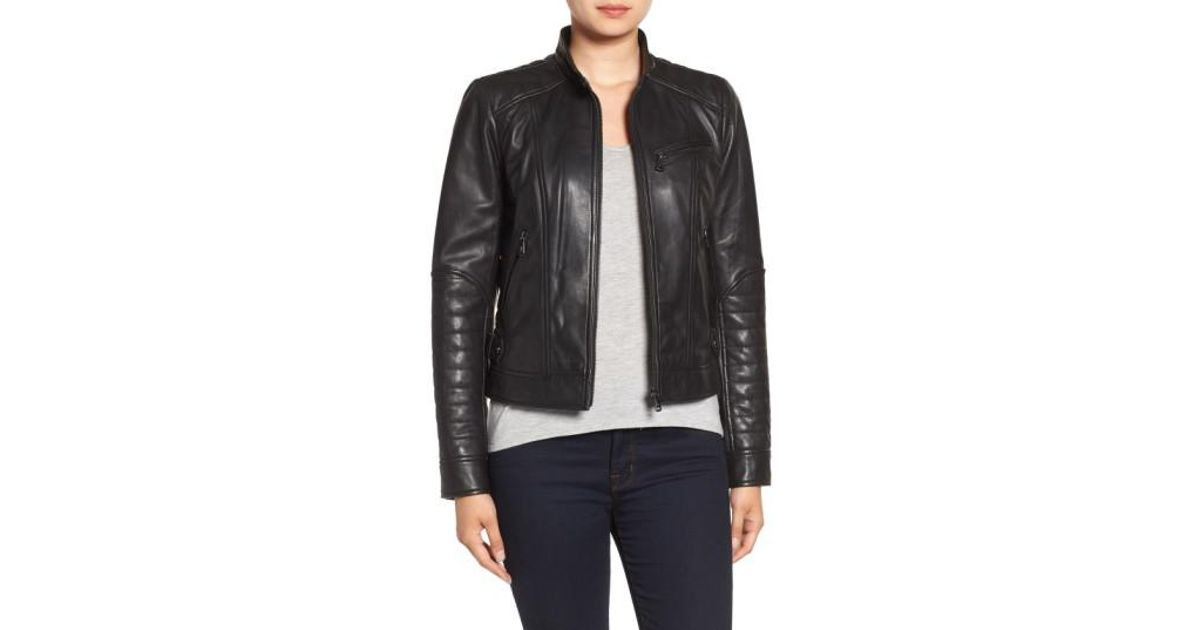 Lyst Bernardo Quilted Leather Moto Jacket In Black