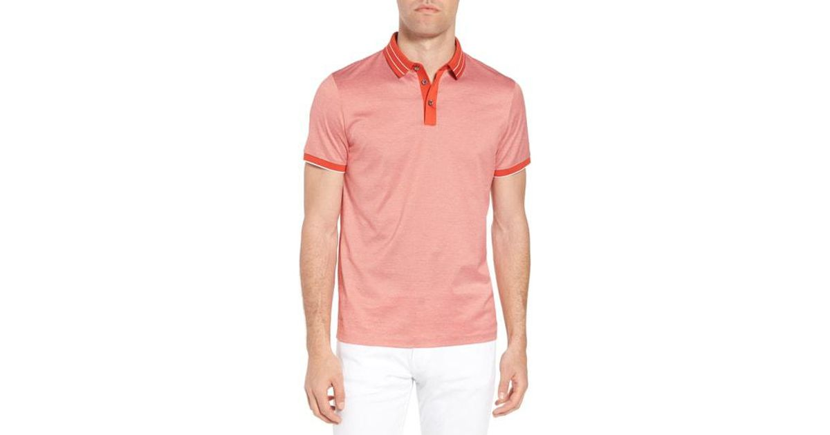 86b2b689ddf Lyst - Boss Regular Fit Prout Tipped Polo in Red for Men