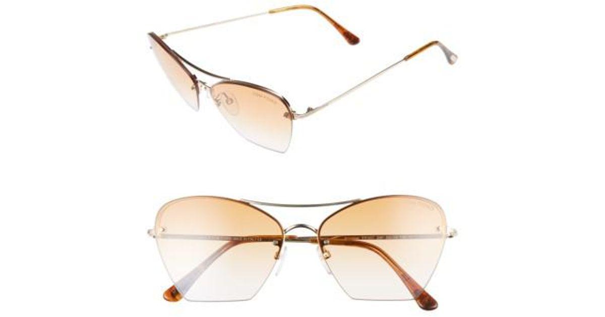 8383add9250a Lyst - Tom Ford Annabel 58mm Cat Eye Sunglasses in Metallic