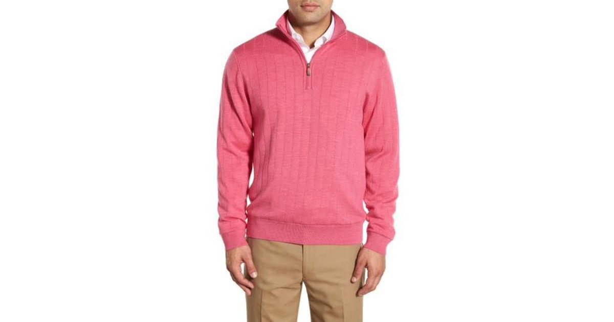 777692fd535eb5 Lyst - Bobby Jones Windproof Merino Wool Quarter Zip Sweater in Pink for Men