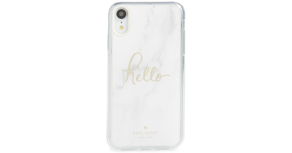 Lyst Kate Spade Marble Hands Free Iphone Xr Case In White