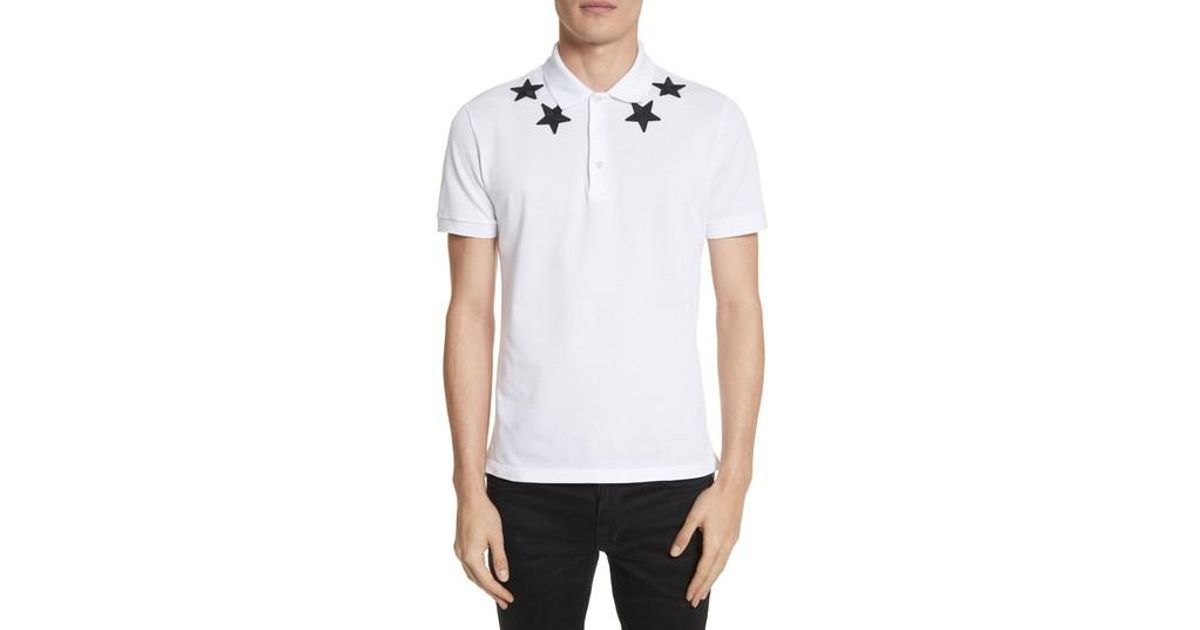 Lyst givenchy star polo shirt in white for men for Givenchy 5 star shirt
