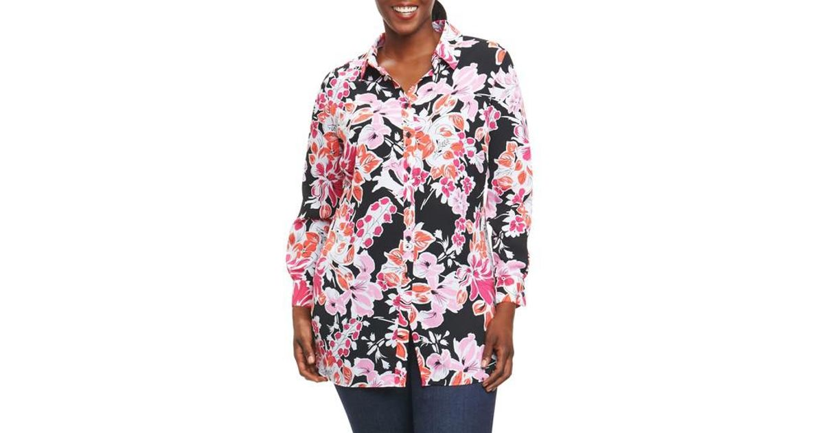 3f53eb82373 Lyst - Foxcroft Jade Blooming Floral Tunic in Pink