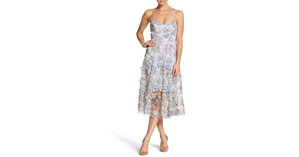 cbfa547567 Lyst - Dress the Population Uma Floral Embroidered Lace Dress in Blue