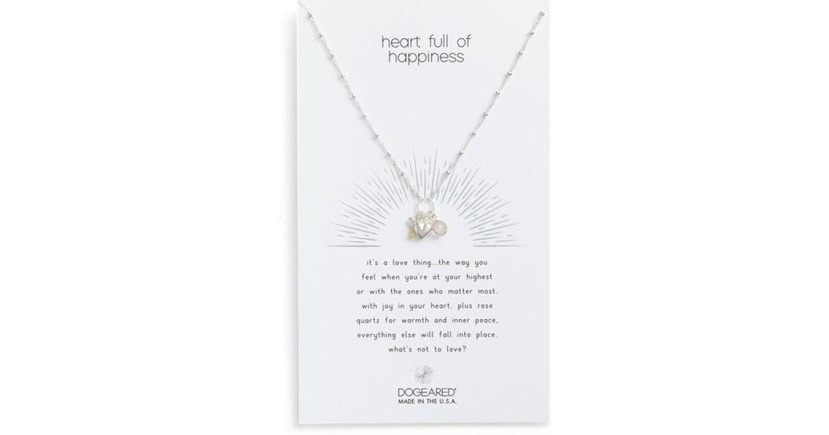 lyst dogeared heart full of happiness puffy pendant necklace in