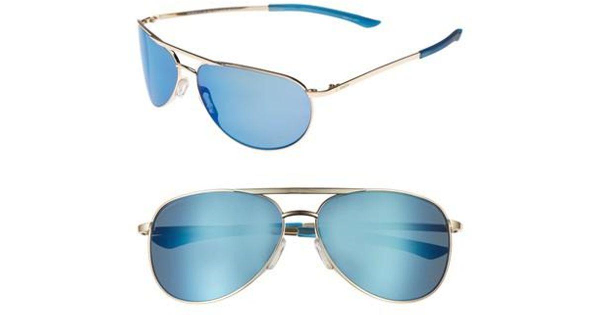 e544b9d4bc4c Lyst - Smith Serpico Slim 2.0 60mm Chromapop Polarized Aviator Sunglasses  in Blue for Men