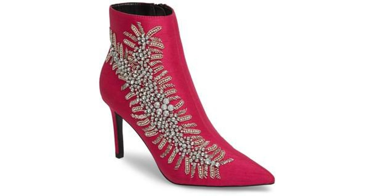 93ae8f86d526 TOPSHOP Heavenly Embellished Bootie in Pink - Lyst