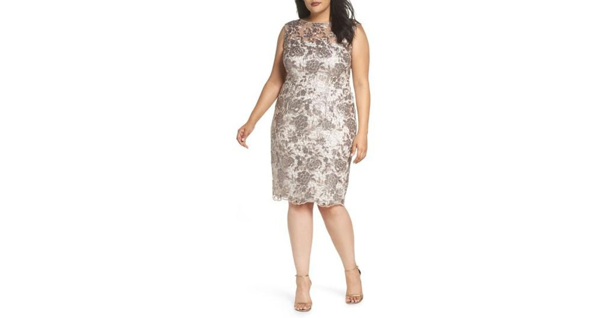 8b5fde1c12 Lyst - Adrianna Papell Floral Sequin Embroidery Sheath Dress (plus Size)