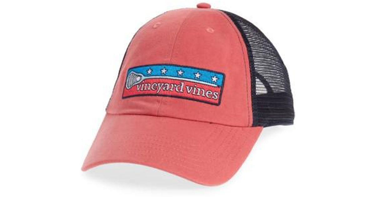 901e30657e801 Lyst - Vineyard Vines Low Profile Lax Patch Trucker Hat in Red for Men