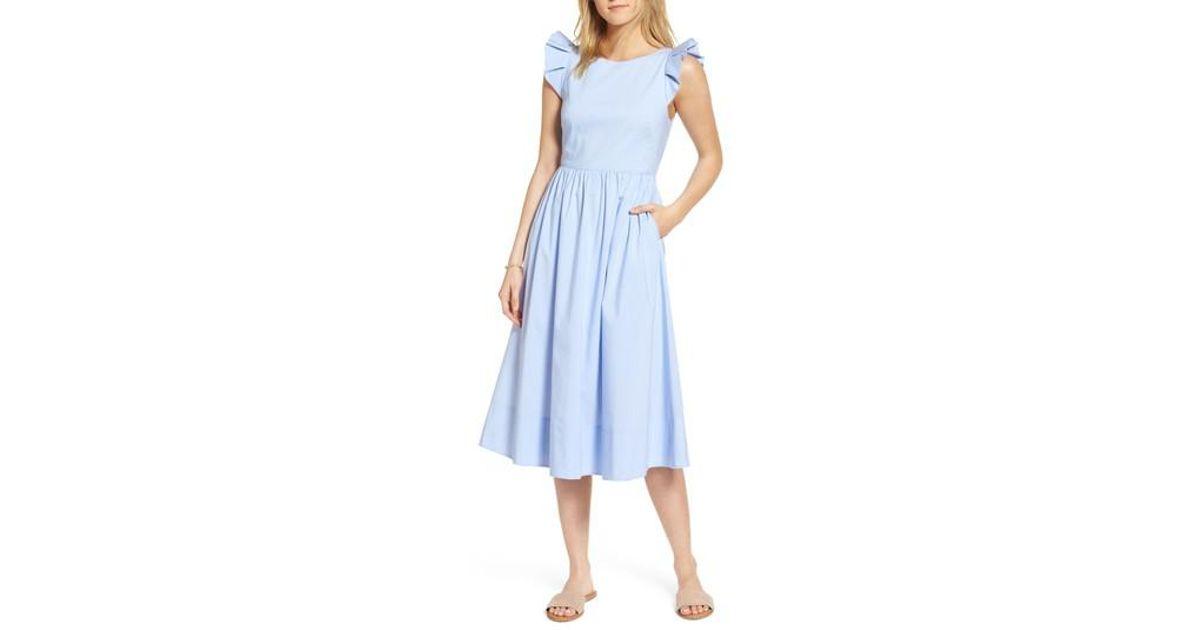 5bfb76bcbd9 Lyst - Nordstrom 1901 Ruffle Fit   Flare Midi Dress in Blue