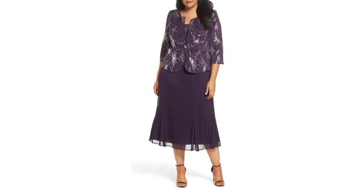 e4092ee81e4 Lyst - Alex Evenings Sequin Mock Two-piece Dress With Jacket in Purple