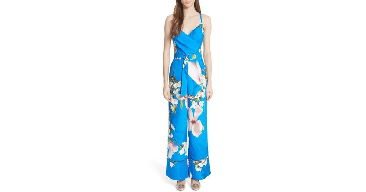 ec24ef7fafa4 Lyst - Ted Baker Harmony Wrap Front Floral Jumpsuit in Blue
