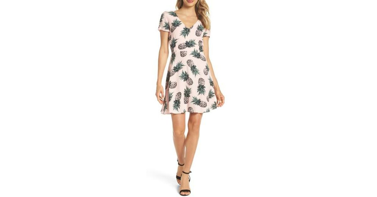 e2af514a720 Lyst - BB Dakota Leni Pineapple Print Fit And Flare Dress in Pink - Save 59%