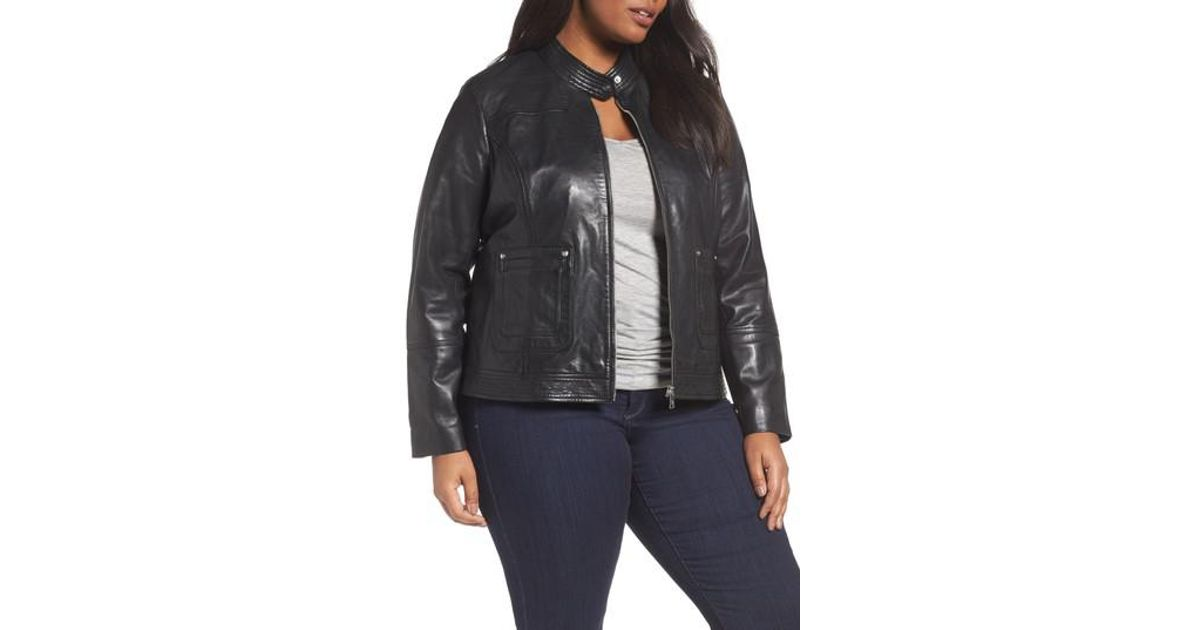 714f128cd2d7b Lyst - Bernardo Kirwin Sheepskin Leather Jacket (plus Size) in Black