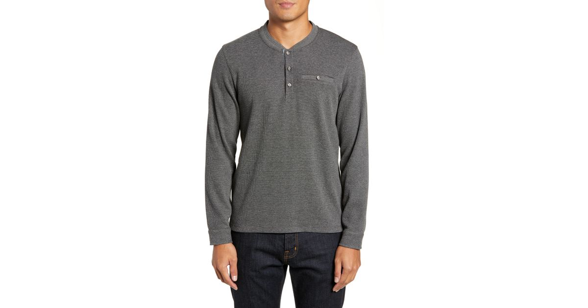 bf3b53d0f Lyst - Ted Baker Slim Fit Mojave Thermal Pocket Henley in Gray for Men -  Save 23%