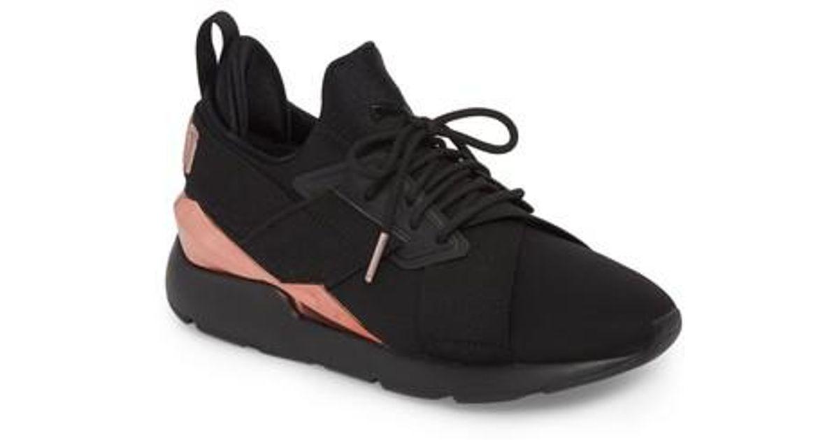 Lyst - PUMA Muse Metal Detail Sneaker in Black 17568f38c