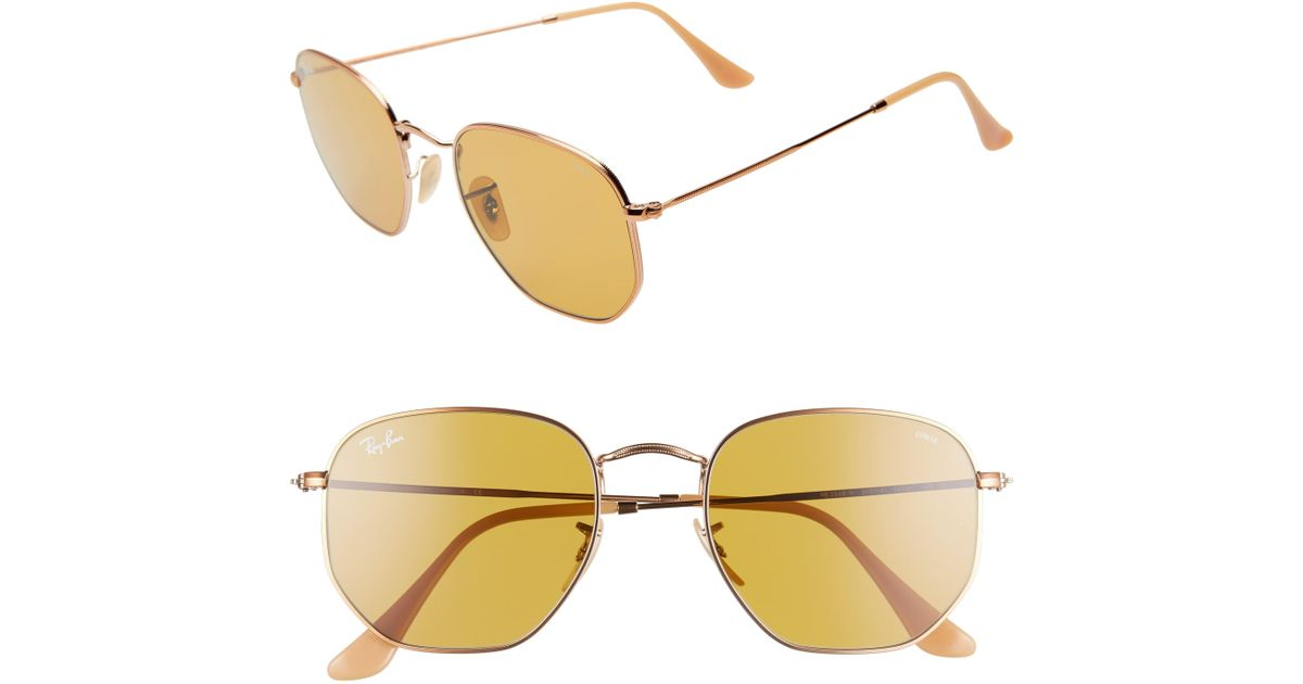 e51592999c4ae Ray-Ban 54mm Evolve Photochromic Hexagon Sunglasses in Metallic - Lyst