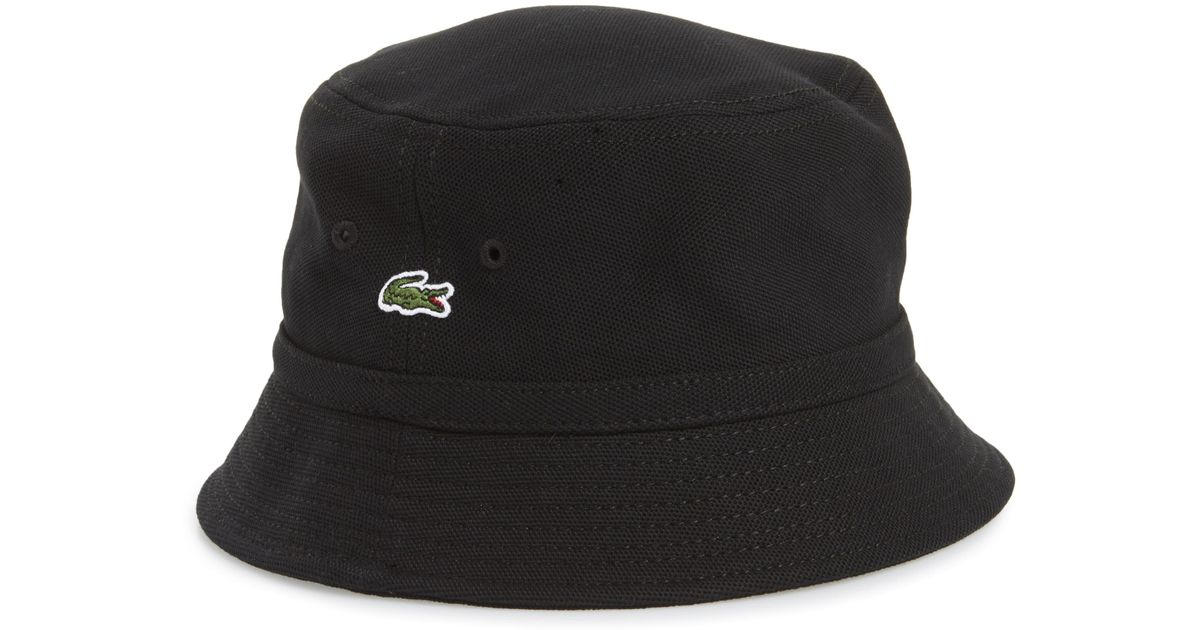 fad0fe71 Lacoste Cotton Piqué Bucket Hat in Black for Men - Save 42% - Lyst