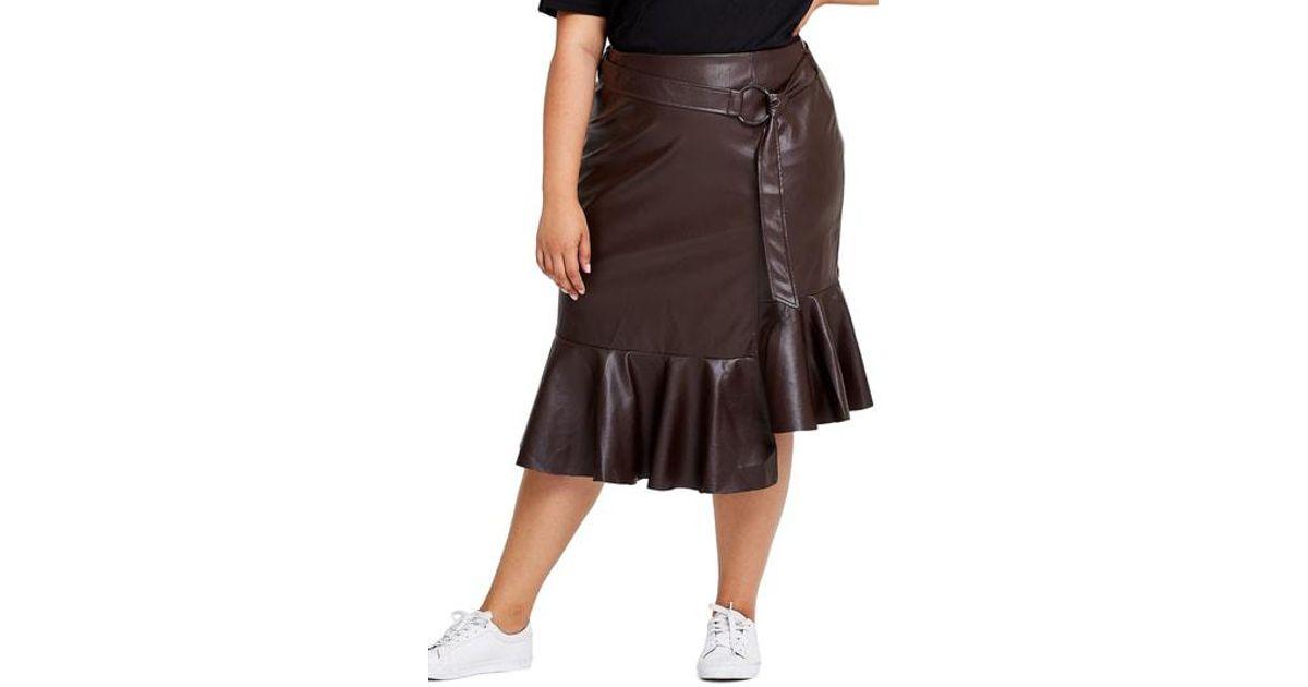 db1a3c8f68 Elvi Plus Size Pose Faux Leather Asymmetrical Frill Hem Skirt in Brown -  Lyst
