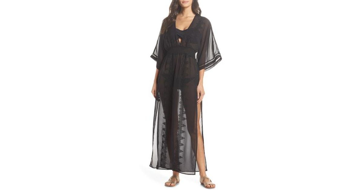 71c811edf8 Chelsea28 Deep Cover-up Maxi Dress in Black - Lyst