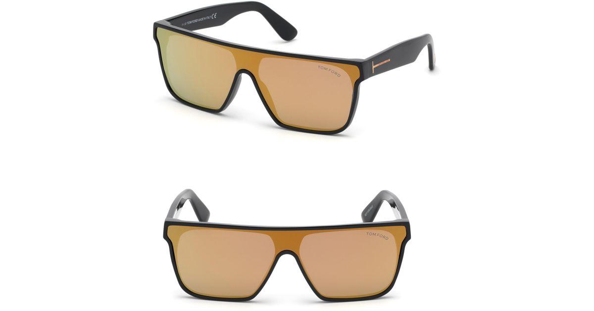 fedee4d98f4 Lyst - Tom Ford 140mm Shield Sunglasses - Shiny Black  Smoke in Black for  Men