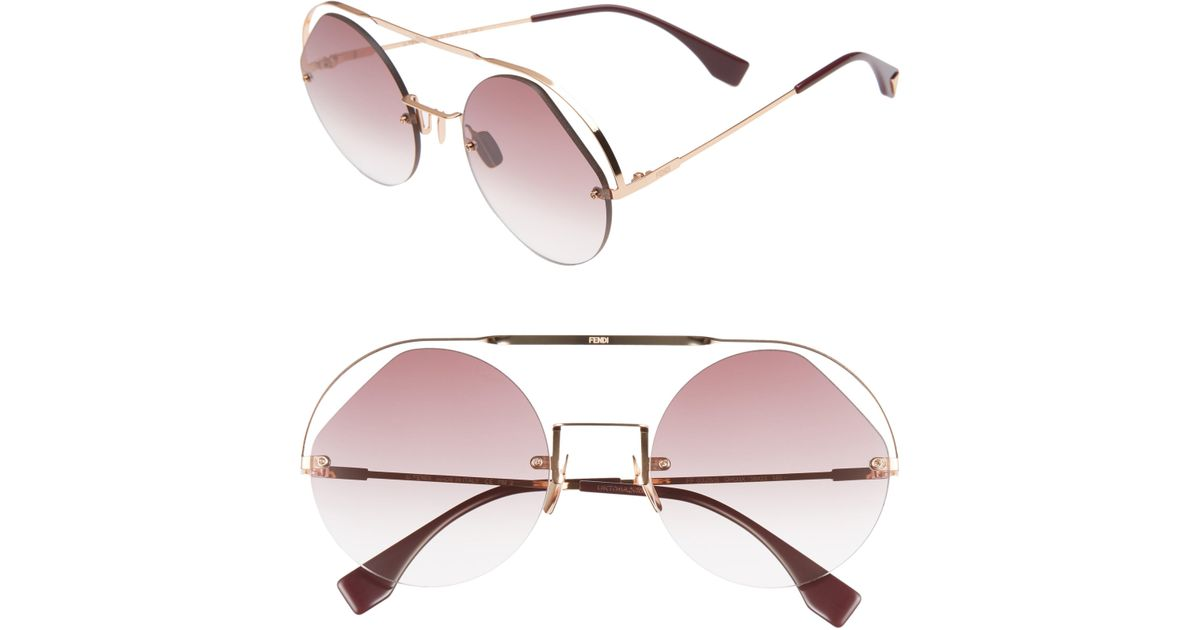 fa45ac89546 Lyst - Fendi 56mm Semi Rimless Round Aviator Sunglasses - Cyclamen in Pink